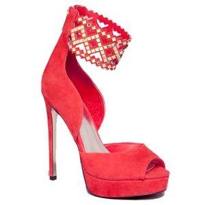 BEBE Tanaz Ankle Strap Heel Pumps Size 8